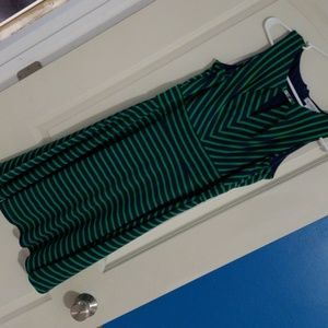 Navy blue and green mid length dress